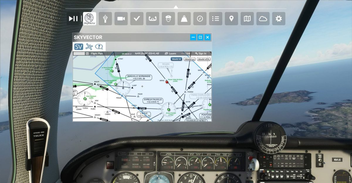 Load SkyVector inside MSFS with this free toolbar mod