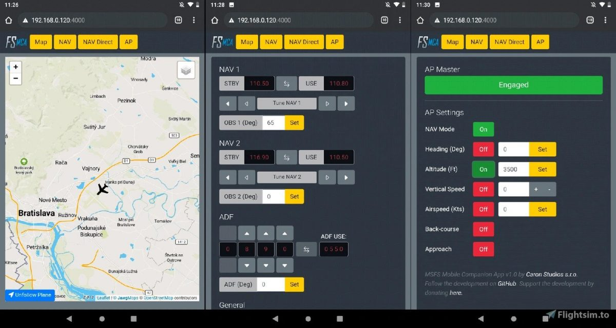 MSFS Mobile Companion App – a FREE app to control your aircraft through your smartphone