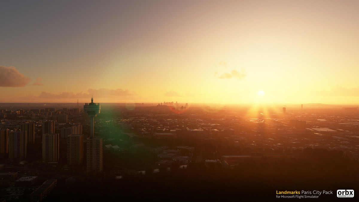 Orbx Paris Landmarks MSFS sunset