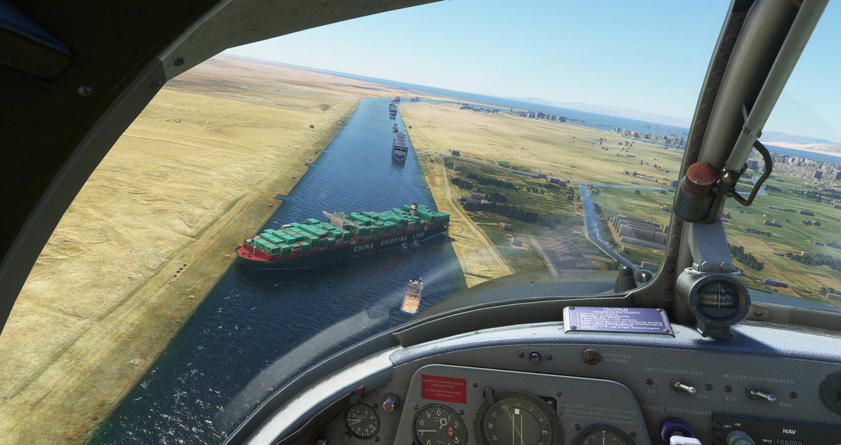 The Suez Canal blockage is now a popular attraction in Flight Simulator