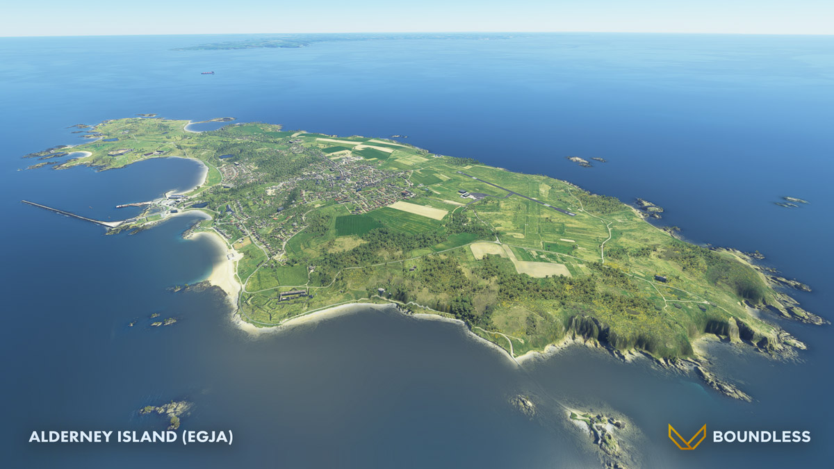 Alderney Island recreated for MSFS by Boundless Simulations and IniScene
