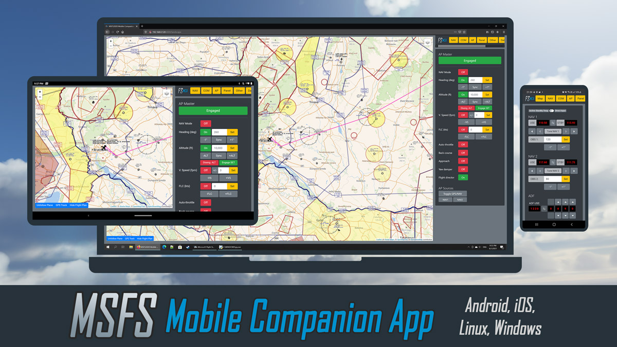 MSFS Mobile Companion App updated, supports most popular third-party airplanes