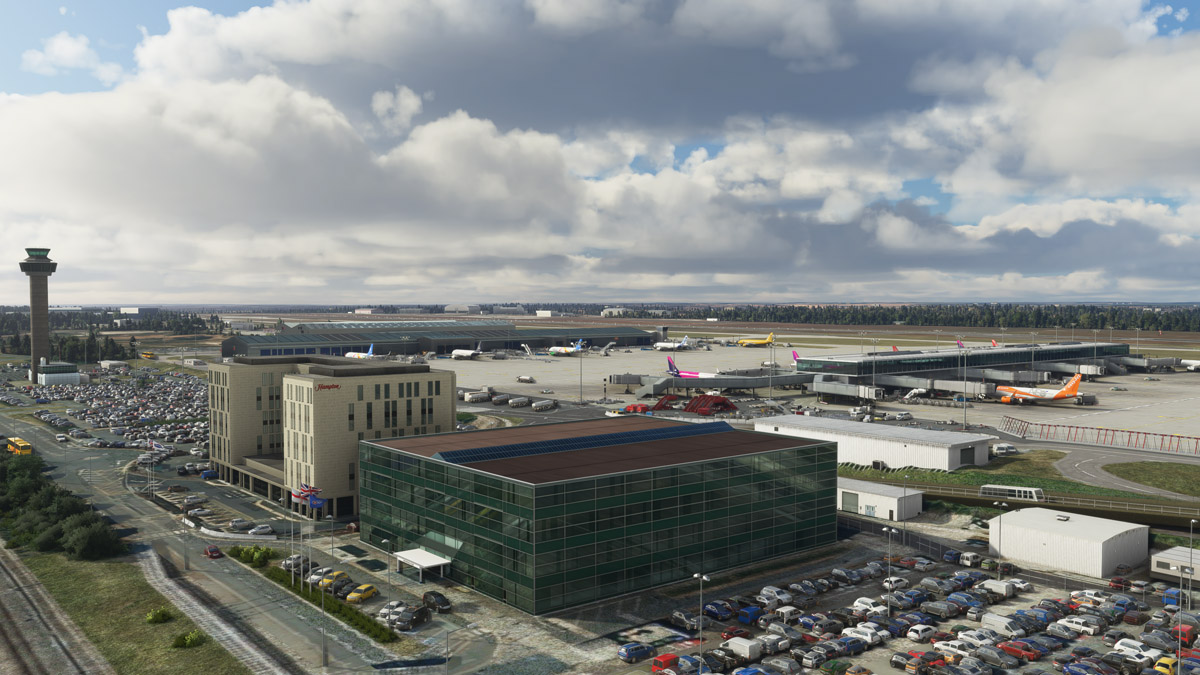 You must check this outstanding freeware scenery of Stansted Airport for MSFS